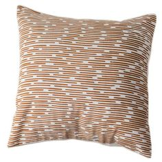 Copper Dashes Pillow Cover 16 by 16 - Sustainable Threads (L) Hand screen printed and hand-woven on bamboo looms, these pure cotton pillows are 16 inches square. Does NOT include pillow. Modern Throw Pillows, Small Pillows, Throw Pillow Sets, Decorative Pillows, Pillow Covers, Machine Wash Pillows, Shops, Co Design, Christmas Pillow