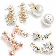 Gmarket - [기타] Shooting star pierced earrings / CZ trimmed / f...