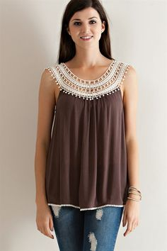"Crochet Lace Yoke Top - Mocha [ ""Crochet Lace Yoke Top - Mocha More"", ""Shop our Tops collection, a great addition to your wardrobe. Col Crochet, Crochet Fabric, Crochet Shirt, Crochet Collar, Diy Crafts Crochet, Online Clothing Boutiques, Crochet Fashion, Crochet Clothes, Crochet Dresses"