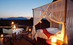 Romantic sleepout safari experience under the stars of an African sky South Africa Honeymoon, Modern Country Style, River Lodge, Private Games, Outdoor Spaces, Outdoor Decor, Outdoor Living, Sleeping Under The Stars, Relaxation Room