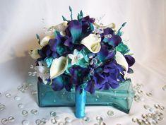 Jillian's Bridal Bouquet Teal PurpleCA Dendrobium Orchids, White Calla Lilies.Purple and Turquoise Hydrangeas, Crystals,Singapore,Galaxy