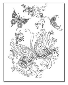 instant download coloring pages buttefly dragonfly art 5 pages to ... - Advanced Coloring Pages Butterfly