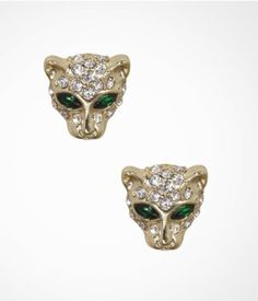 PAVE CAT HEAD STUD EARRINGS | #Express I hate cats but how cute are these