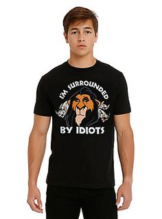 Disney The Lion King Scar Surrounded By Idiots T-Shirt, BLACK