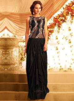 Black Embroidery Work Georgette Designer Fancy Long Wedding Gown         #wedding #designer #partywear #gown       http://www.angelnx.com/gown