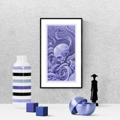 Octopus, skull, blue drawing, sketches, illustrations, pencil, hand drawn, kraken, art, printable, sea monsters, color pencil art, #octopus #kraken