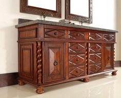 """James Martin 100-V72-BCH-ABK Continental 72"""" Burnished Cherry Double Vanity with Black Absolute Stone Top"""