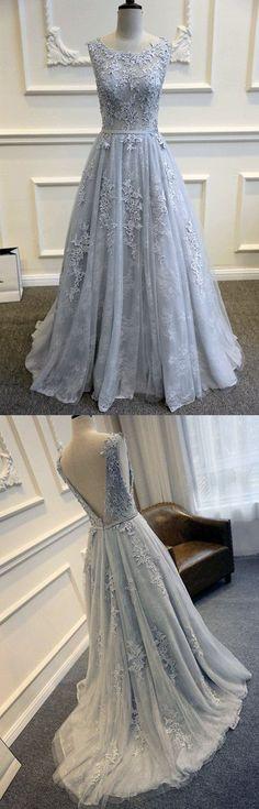 2017 Sexy A Line Wedding Dress,Lace Appliques Wedding Dress,Light Blue Prom Dress,Scoop Neckline Prom Dress,A Line Wedding Dress,Sexy Backless Prom Dress