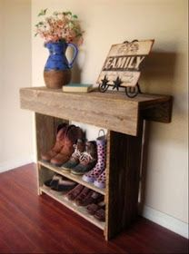 Pallet Projects : Entryway Shoe And Boot Rack Made From Pallets