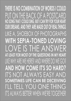 BETTER TOGETHER - JACK JOHNSON - Wedding Engagement  Song Lyric Lyrics Wall