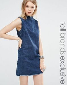 Glamorous Tall Sleeveless Denim Frayed Shift Dress With D-Ring Detail