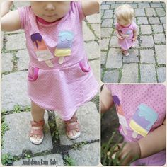 Sommerkleidchen mit Eisapplikation, ice cream appliqué free pattern