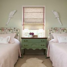 Girls Shared Bedroom, Love the headboards!