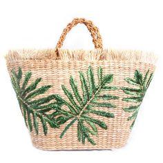 Green Palm Basket Bag (940 RON) ❤ liked on Polyvore featuring bags, handbags, green bag, woven handbags, woven purses, palm tree purse and raffia bag