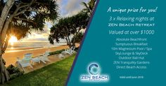 A unique prize for you on Absolute Beachfront! Featuring Sumptuous Breakfast, 10m Magnesium Pool / Spa, SkyLounge & SkyDeck, Outdoor Bali Hut , ZEN Tranquility Gardens, Direct Beach Access