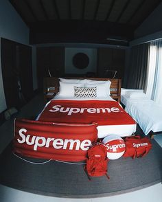 Supreme X Bed x Beach Ball x Bag x Clout Mode London, Mens Room Decor, Home Decor, Hypebeast Room, Supreme Clothing, Supreme Wallpaper, Room Accessories, Supreme Accessories, Black Decor