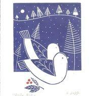 Items similar to Winter Love Birds Art - Original Lino Print, Snow in White & Blue - Hand Pulled Scandinavian Print Style Linocut Block Print Signed on Etsy Linocut Prints, Art Prints, Lino Art, Linoleum Block Printing, Handmade Stamps, Linoprint, Art Original, Art Graphique, Tampons