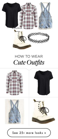 """""""Cute Outfit"""" by diavianshanelle on Polyvore featuring Topshop, New Look, Dr. Martens, women's clothing, women, female, woman, misses, juniors and flannel"""