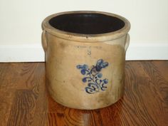 3 Gallon Stoneware Crock Cobalt Stamped Flower by TheCrockery1