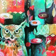 Painting by the talented Jennifer Currie - love the color and contrast. Art Journal Inspiration, Painting Inspiration, Art Inspo, Owl Art, Bird Art, Street Art, Art N Craft, Art Journal Pages, Illustrations