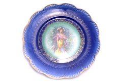 Vintage Victorian Design Blue Plate