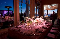 Gorgeous table setting we used for a wedding. The view is stunning as well!   http://www.sequoiaprod.com
