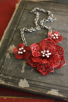 Statement Necklace . Red Petal . Flowers . ( Cut Flowers ) . Seven Finches. $49.00, via Etsy.