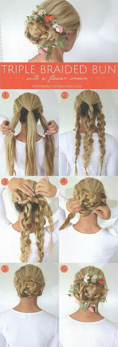 Triple Braided Bun With Flower Crown - Barefoot Blonde by Amber ...   Frauen Haare  