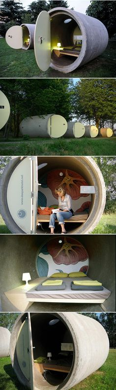 When most people dream about the ultimate vacation destination, we can pretty much guarantee you that sleeping inside a sewage pipe doesn't top the list. That didn't stop designer Andreas Strauss from creating a hotel made entirely of just that – giant old sewage pipes. Crowned the Das Park Hotel, this eco-friendly destination is located in Ottensheim, Austria, and was assembled back in 2004. Each 6.5-foot in diameter pipe features wall paintings by Austrian artist Thomas Latzel Ochoa, and…