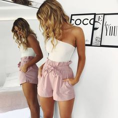 Strand Hot Pants Sommer Shorts Strand Shorts mit hoher Taille Damen Shorts im Jahr 2019 Cute Casual Outfits, Simple Outfits, Short Outfits, Pretty Outfits, Spring Outfits, Casual Pants, Simple Dresses, Stylish Outfits, Beach Day Outfits