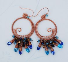 Blue Crystal Chandelier Earrings Copper Wire Wrap Beautiful Going Out Earrings #Handmade #Wrap