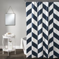 Jigsaw Chevron Shower Curtain