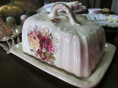 Antique English Pink and White Butter or Cheese Dome Dish circa 1910/'s  EVE of Europe