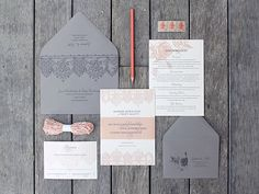 Penned and Pretty...A Calligraphy Shop: ...Soft Pink & Gray Invitations...