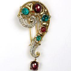 Trifari 'Alfred Philippe' Ruby and Emerald Question Mark Pin Clip