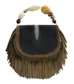Stingray Fringe Clutch with Antique African African Bead Strap. We deliver worldwide. Order now through sales@annatrzebinski.com or call the Aspen Store today on (970) 925 2848.