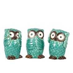 6.5 in. H Owl Decorative Figurine in Turquoise Gloss Finish (Set of 3)