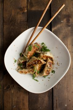 Naturally Ella | Shaved Brussels Sprouts and Ginger Potstickers