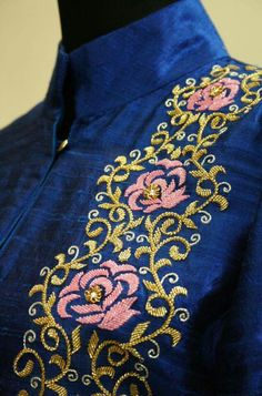 Get this beutifful jardosi work on kurti or blouse get it done at http://mytailor.in/