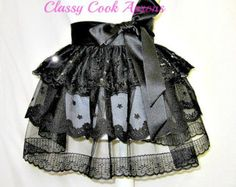 Half Apron BLACK SWAN, 3-Tier Cocktail COUTURE Noir in Lace, Sequins & Satin, Evening Glamour Hostess, Pretty Party, Boudoir Gift