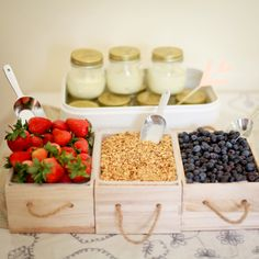 What a fun Brunch Idea: Yogurt Parfait Bar, gather your favorite yogurt and fruit for your next party, shower, wedding or get-together. Guests will love it!