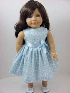 Leopard Print Doll Dress, Sash, Shoes, and Pearl Bracelet for the American Girl Doll from TheWhimsicalDoll2