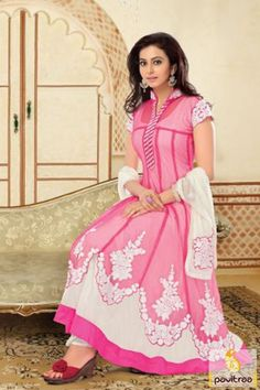 #Online #shopping #bollywood #actress rakul preet singh style pink and white stylish #AnarkaliSalwarsuit is make with fully embroidery butta work on dupatta and border part. @ http://www.pavitraa.in/store/anarkali-salwar-suit/pink-and-white-stylish-anarkali-salwar-suit/?utm_source=rk&utm_medium=Pinterestpost&utm_campaign=23august