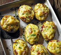 Perfect for tonight - Bonfire Night Baked Potatoes - Transform a baked potato with a rich melted cheese topping, inspired by a classic dish from the French Alps - Prep: 15 mins and Cooking time: 1 hr 30 mins. Bbc Good Food Recipes, Fall Recipes, Cooking Recipes, Yummy Food, Skillet Recipes, Pizza Recipes, Baked Potato Recipes, Baked Potatoes, Cheesy Potatoes