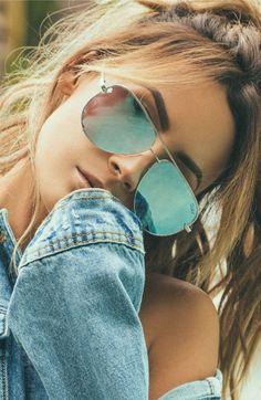 Quay Australia Desi Perkins High Key Aviator Sunglasses Silver / Blue for sale online Oversized Aviator Sunglasses, Aviator Glasses, Blue Sunglasses, Ray Ban Sunglasses, Mirrored Sunglasses, Sunglasses Women, Don Draper Sunglasses, Cheap Eyeglasses, Piercing