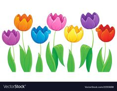 Image with tulip flower theme 3 vector image on VectorStock Window Mural, Mural Wall Art, Murals, Spring Activities, Art Activities, Cute Wallpaper Backgrounds, Cute Wallpapers, Palm Tree Clip Art, Classroom Rules Poster