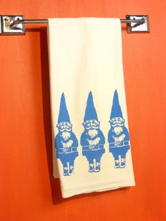Kitchen Towel Gnome Tea Towel Blue CUTE by MoxieMadness on Etsy, $10.00