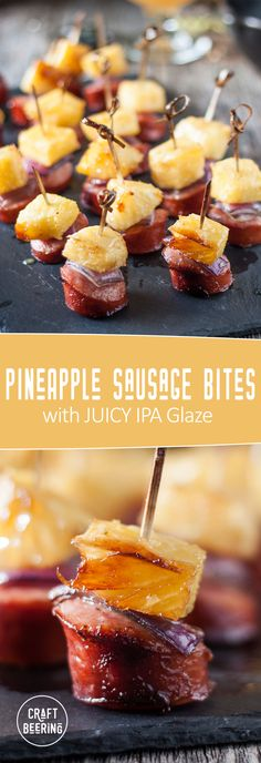 Pineapple sausage bites. Cocktail appetizer with IPA and brown sugar glaze that creates an aromatic caramelization. #pineapple #appetizer #pineapplesausage #cocktailbites #summereats