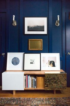 Paint Color – BEHR Marquee Compass Blue //  Smart Furniture – Filing Cabinet, Chair, Table //Woodwork – McDonald Remodeling  // Console – LAX Series – 3x Shelf // Globe – CB2 // Schoolhouse Electric – Tanker Clock // Chair – Vintage (similar)