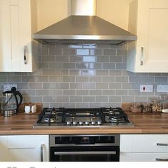 Ordered 4 different coloured metro tiles to choose from for our kitchen, can't wait! (Found this pic on insta and fell in love with the grey) Will be a while before its done though as the garden is the next project! #newbuild #newhome #firsttimebuyers #metrotiles